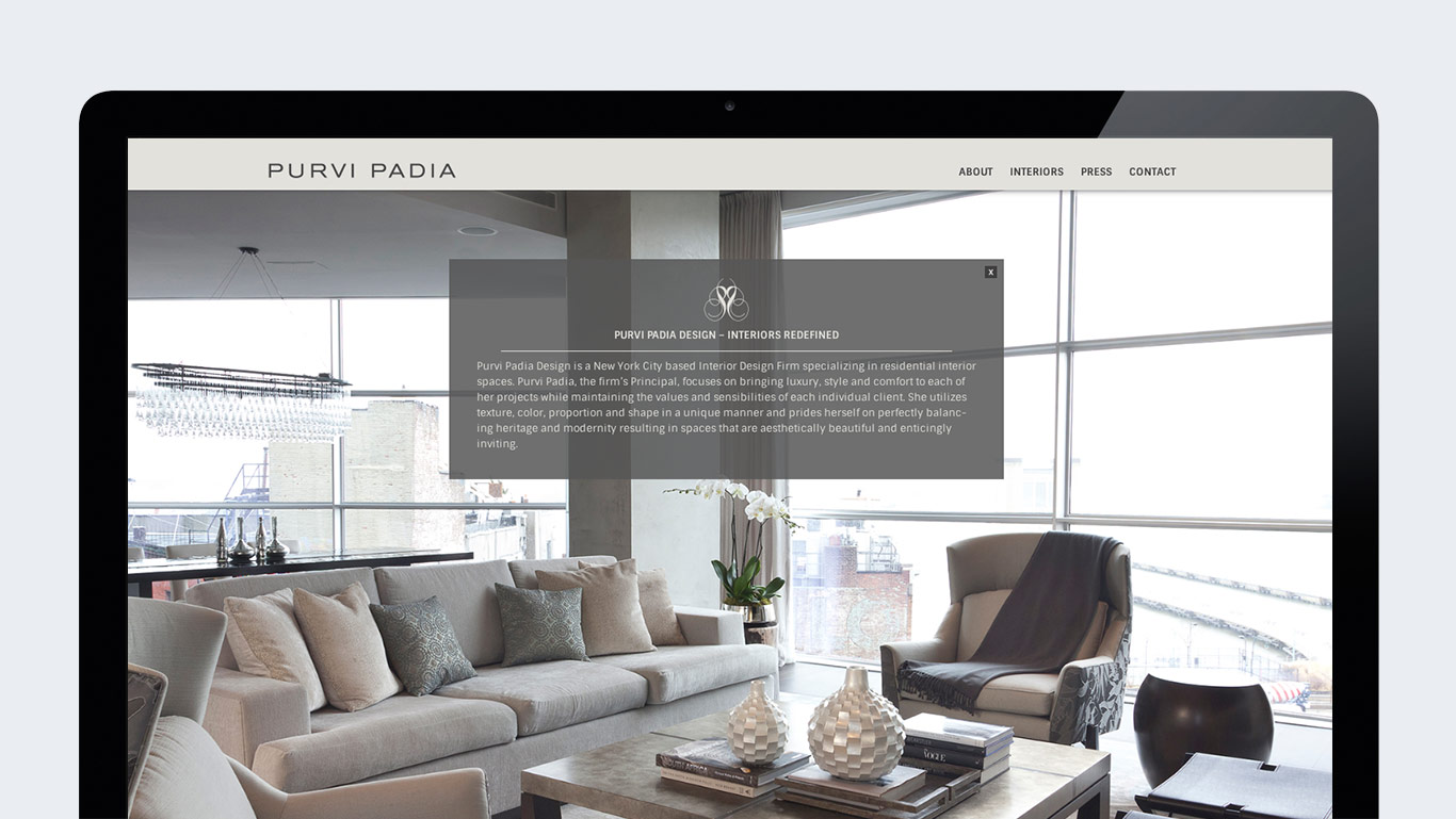 Responsive website design for interior designer Purvi Padia