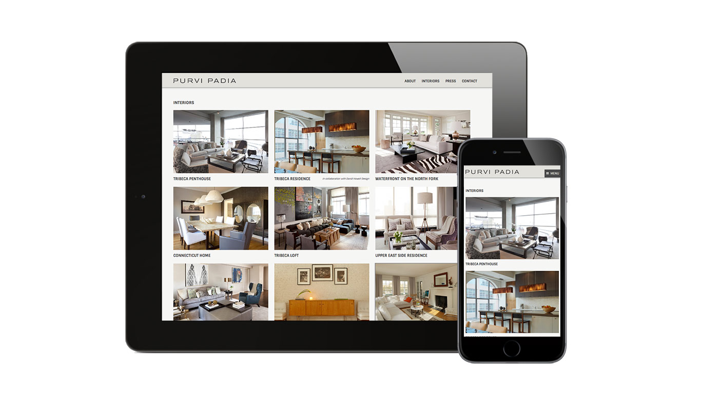 Interior designer Purvi Padia's website displays beautifully on mobile devices
