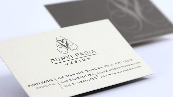 Business card for interior designer Purvi Padia