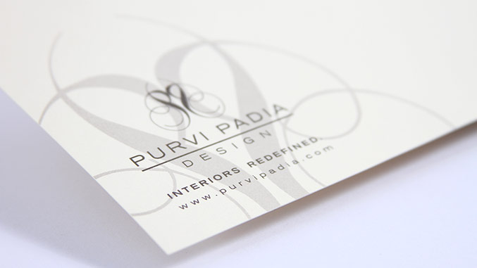 Stationery and business card design for interior designer Purvi Padia