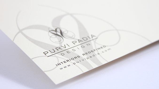 Stationery and business card design for interior designer Purvi Padia