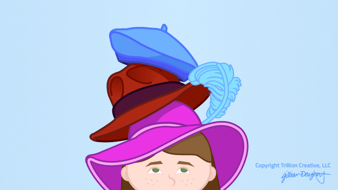 Custom illustrators in NJ: Illustration showing girl wearing three funny hats.