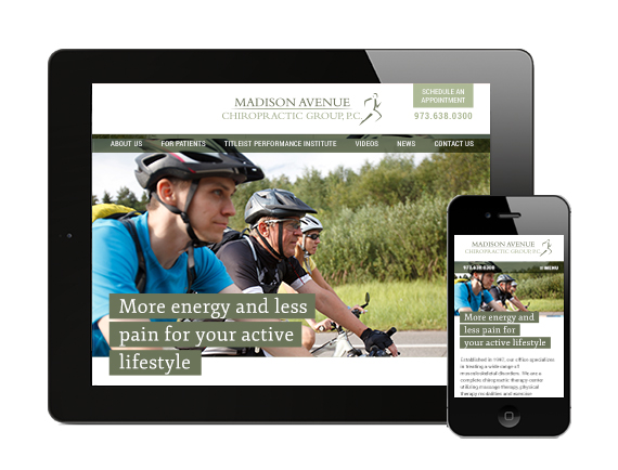 Doctor website – This responsive wordpress website Madison Avenue Chiropractic Group displays beautifully on any device.