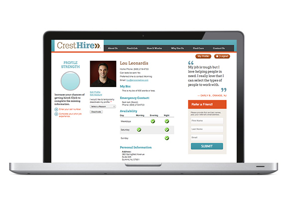 CrestHire responsive website design, detail of caregiver's profile