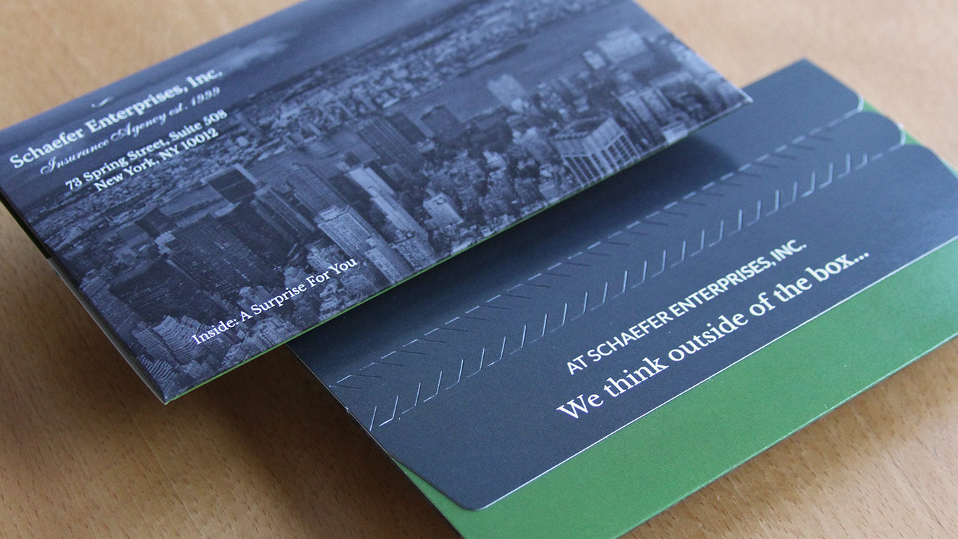 Invitation design with outer envelope for NYC insurance agency SEI