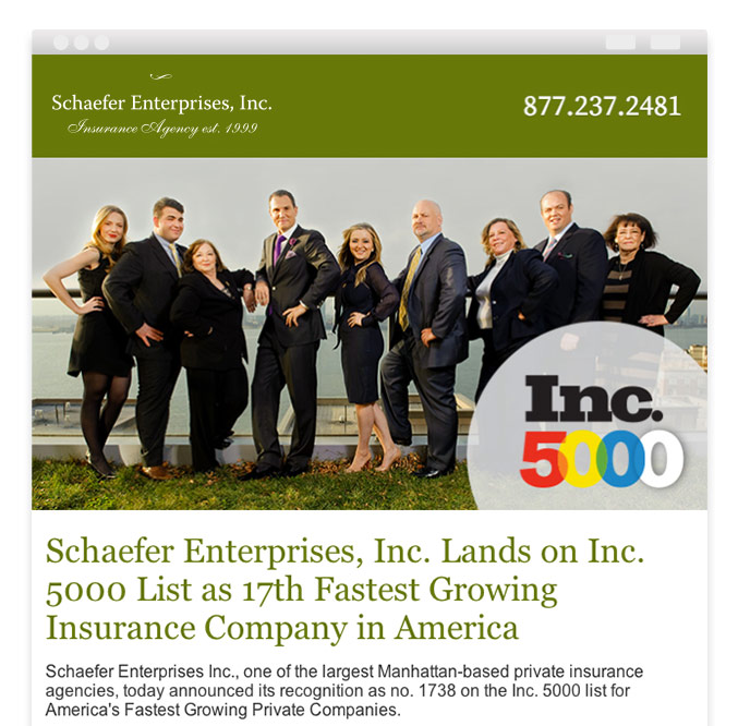 Branded responsive email template for NYC insurance agency's email marketing
