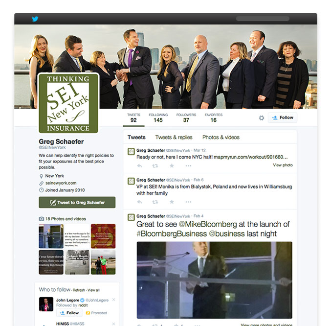 Translating branding to social media presence: twitter profile design for NYC insurance agency