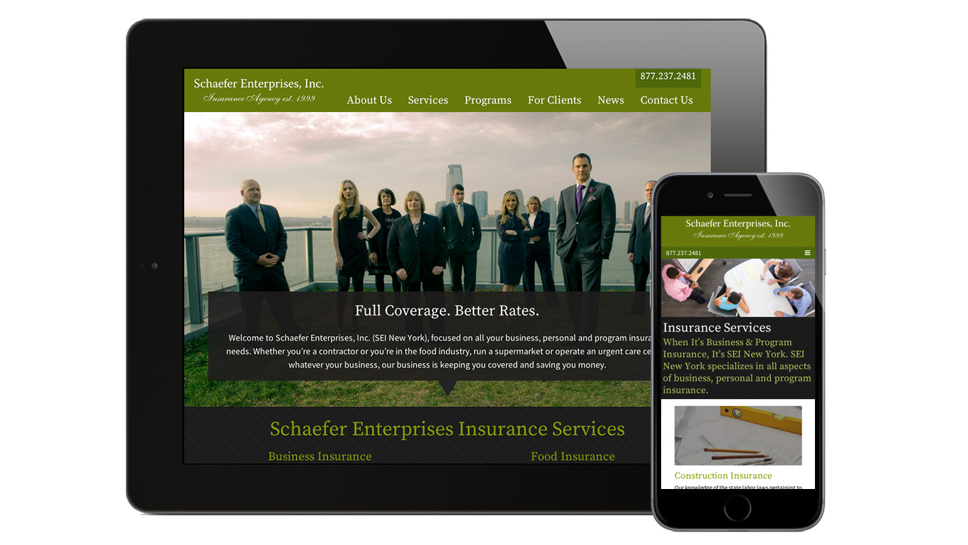 Responsive website design for NYC insurance agency Schaefer Enterprises, Inc. – detail of responsive design on mobile devices