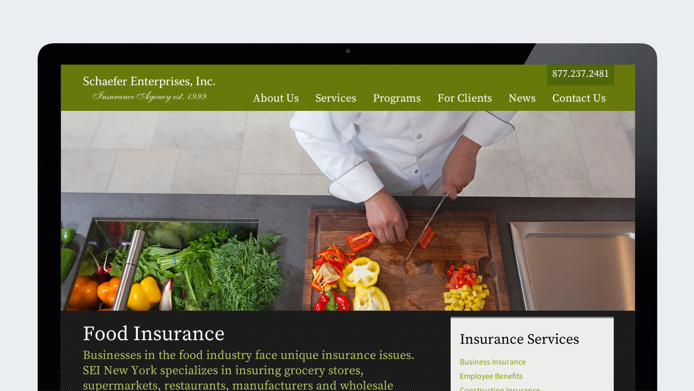 Responsive website design for insurance agency – service detail page