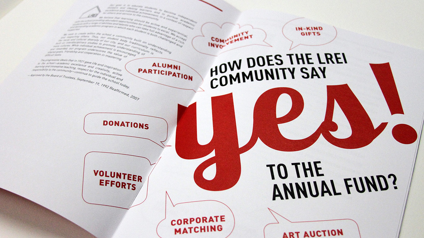 Annual report design for NYC private school LREI.