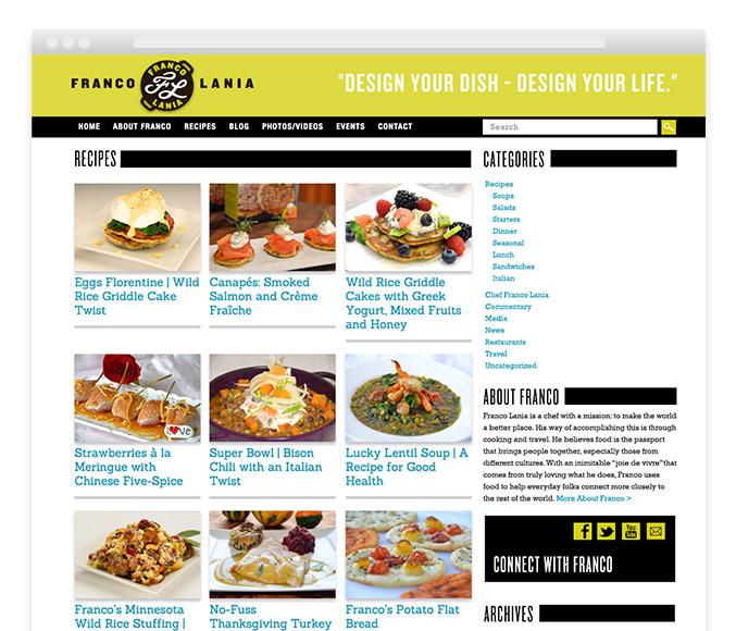 Gourmet Chef cooking recipe blog website design