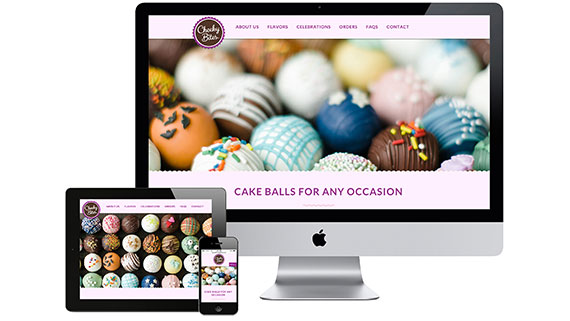 award-winning cakeball website design for Cheeky Bites of NJ