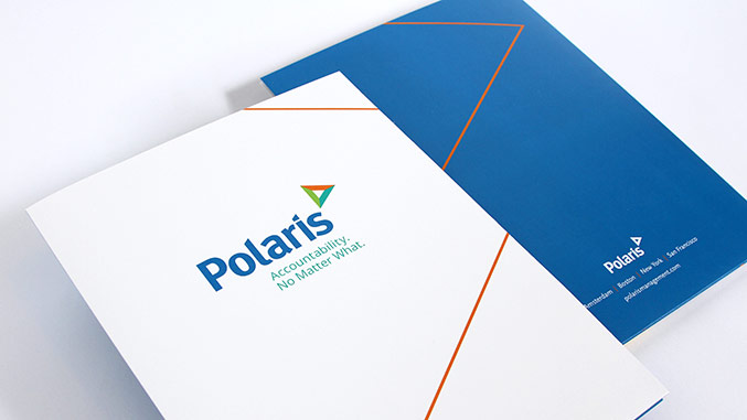 Corporate rebranding: Healthcare rebrand for Polaris, view of custom folder design.