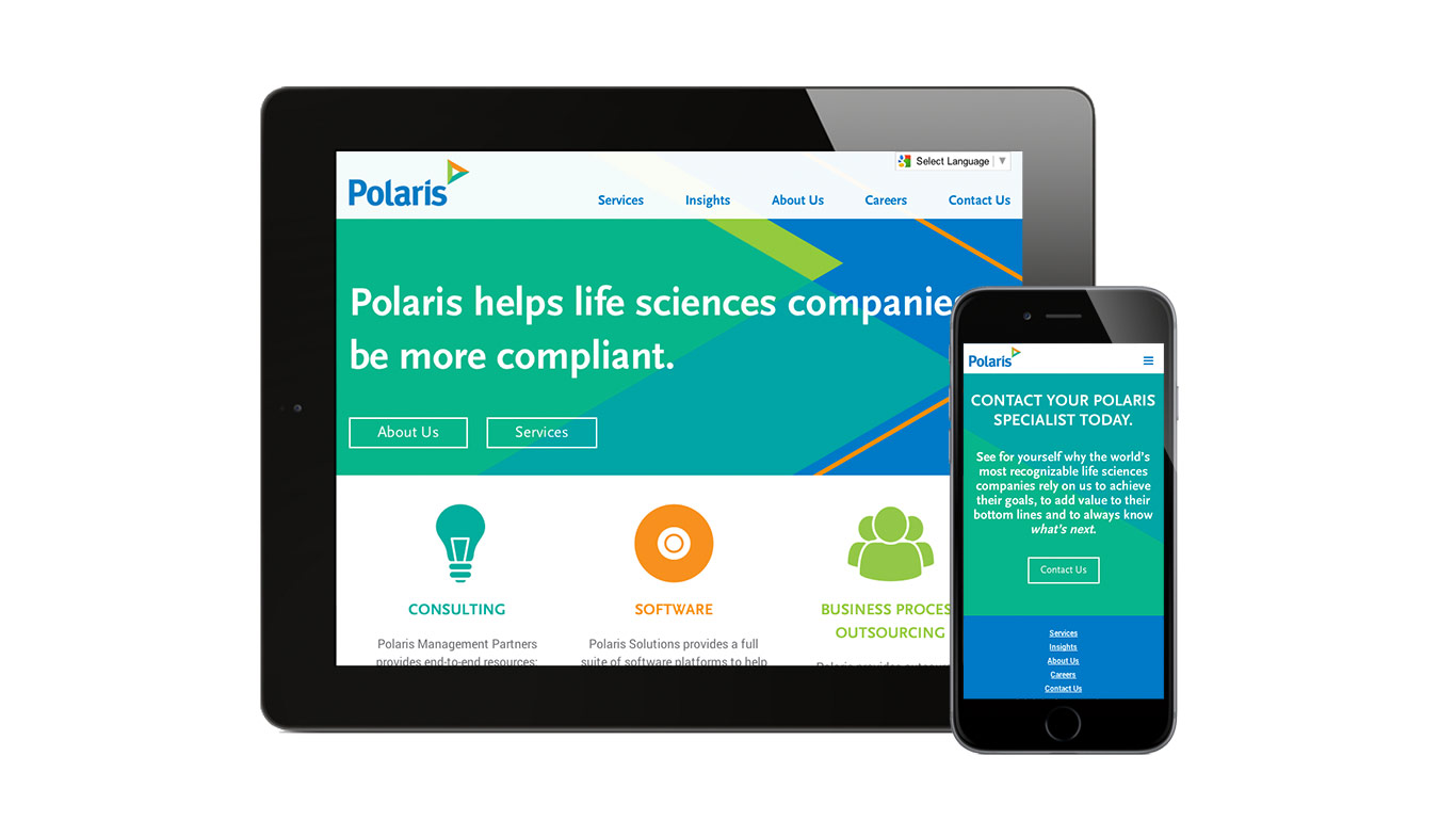 Corporate rebranding: Healthcare rebrand for Polaris, detail of responsive website design.