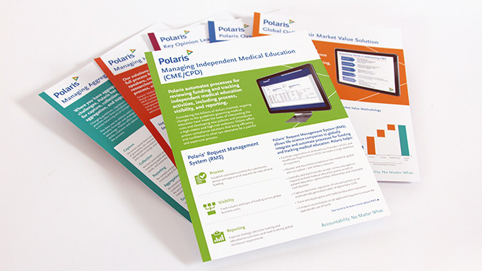Corporate rebranding: Healthcare rebrand for Polaris, detail of software sell sheet suite.