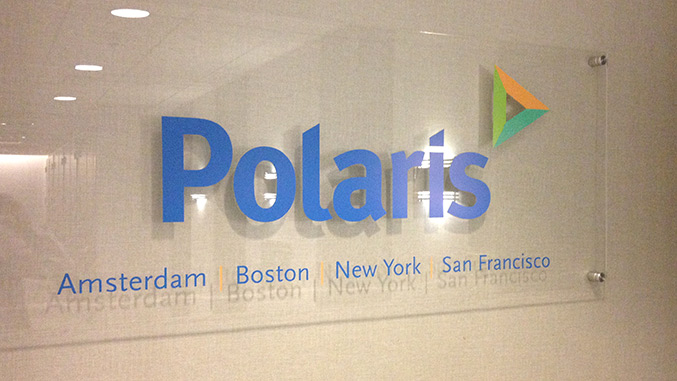 Corporate rebranding: Healthcare rebrand for Polaris, detail of new office signage.