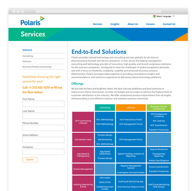 Corporate rebranding: Healthcare rebrand for Polaris, detail of services landing page on website.