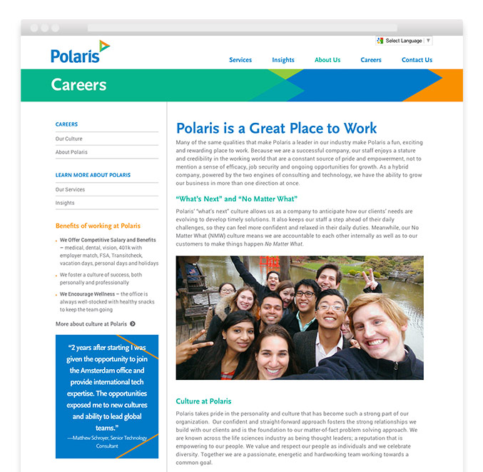 Corporate rebranding: Healthcare rebrand for Polaris, detail of careers landing page on website.