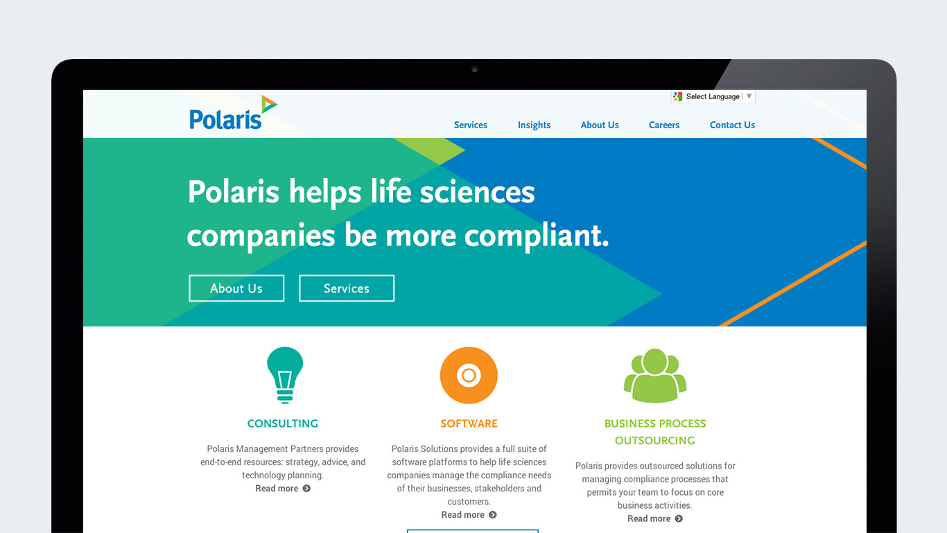 Corporate rebranding: Healthcare rebrand for Polaris, detail of home page.