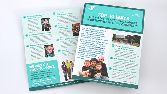 YMCA Top 10 Insert – Not for profit direct mail campaign – Annual appeal designer