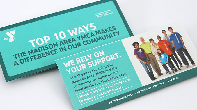YMCA Top 10 Insert Detail – Not for profit direct mail campaign – Annual appeal designer