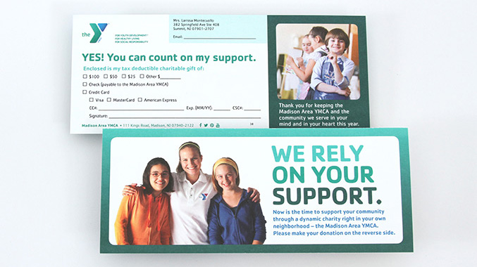 YMCA Reply Donation Card – Not for profit direct mail campaign – Annual appeal designer