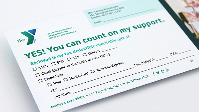 YMCA Reply Donation Card Detail – Not for profit direct mail campaign – Annual appeal designer