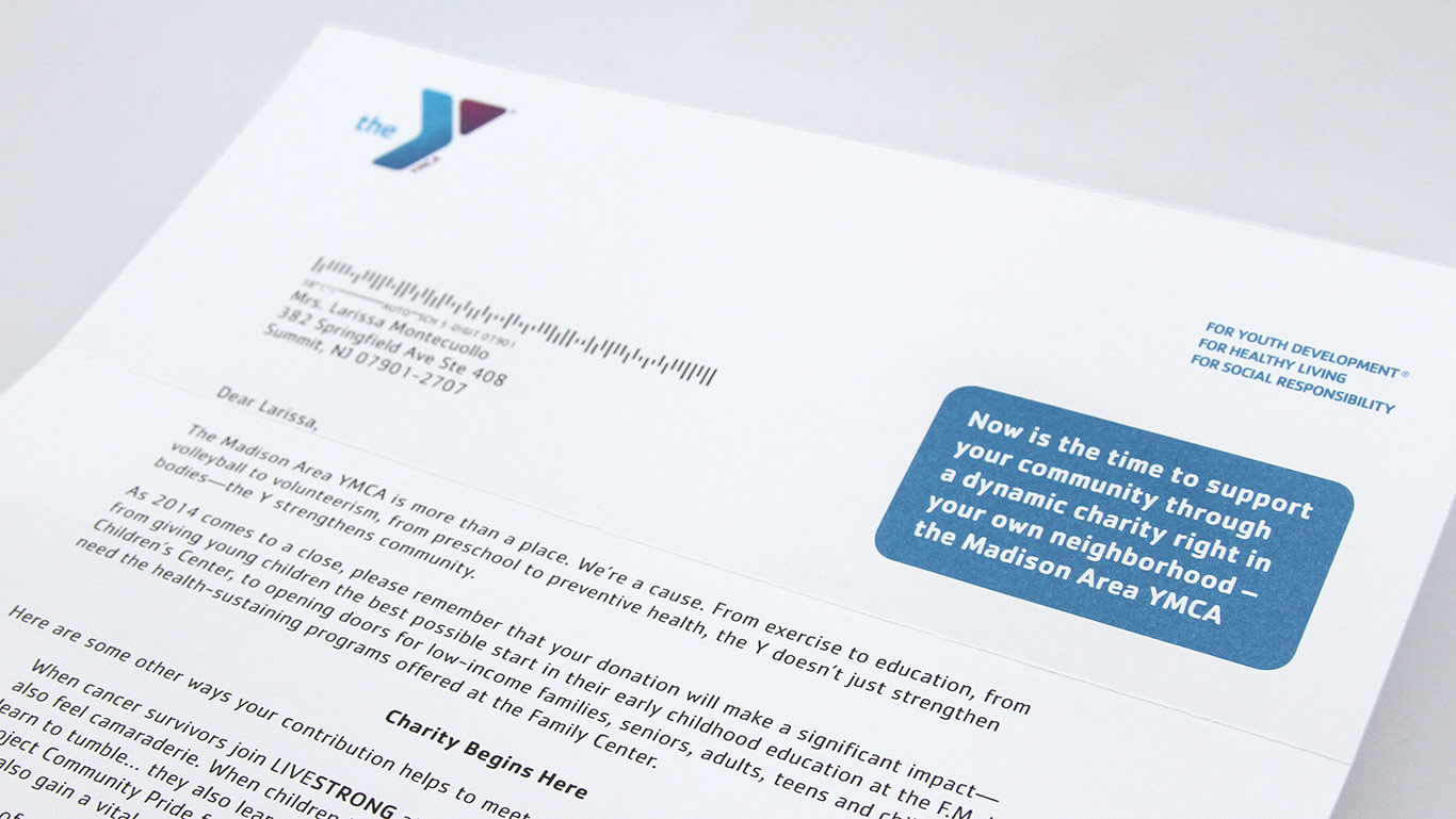 YMCA Personlized Appeal Letter Detail – Not for profit direct mail campaign – Annual appeal designer