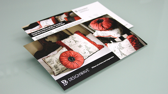 Direct mail postcard design for DesignWave interior retailer