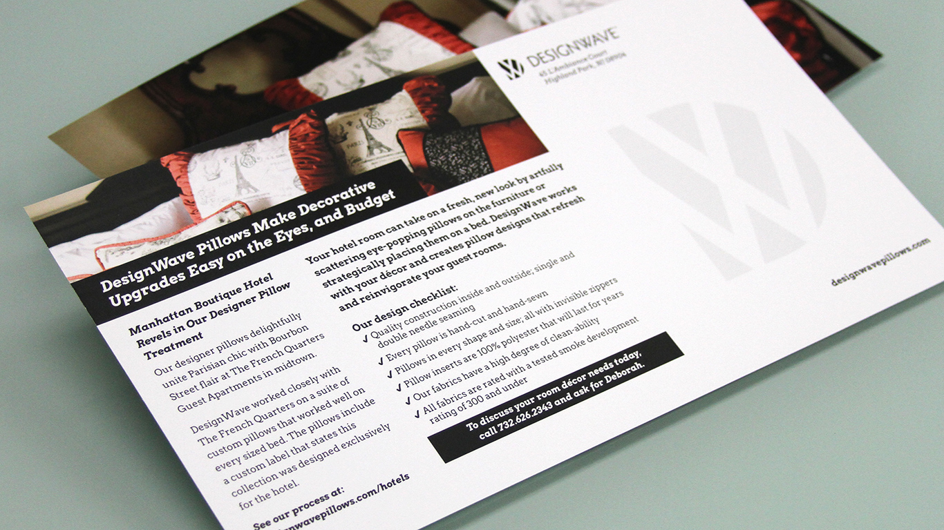 Direct mail postcard design for DesignWave luxury interior retail