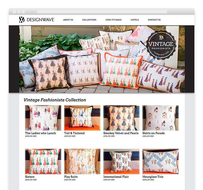 Product page design for interior design retailer DesignWave