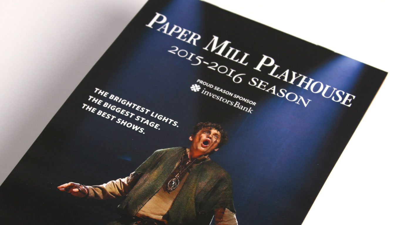 Theater company brochure design and direct mail piece Paper Mill Playhouse