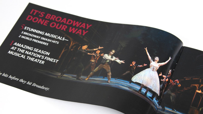 Theater company brochure design and direct mail piece Paper Mill Playhouse interior view