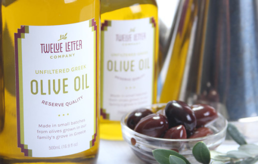 Gourmet food package design for Twelve Letter olive oil company