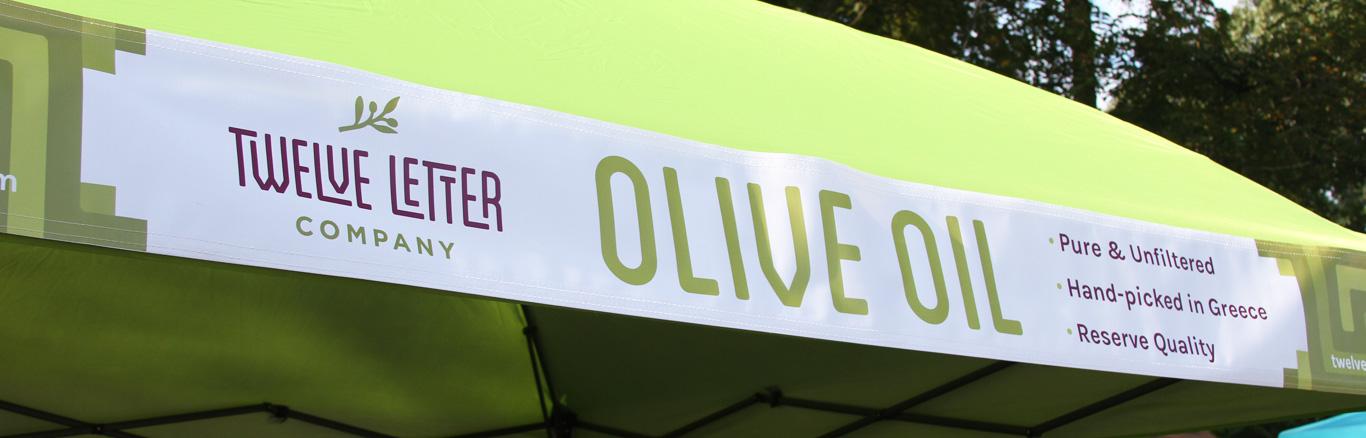 Twelve Letter olive oil branding, farmers market banner design