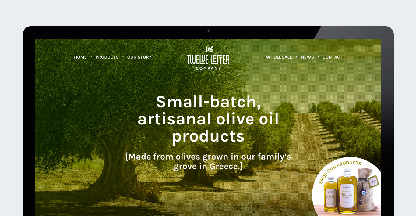 Gourmet food olive oil company ecommerce website design homepage