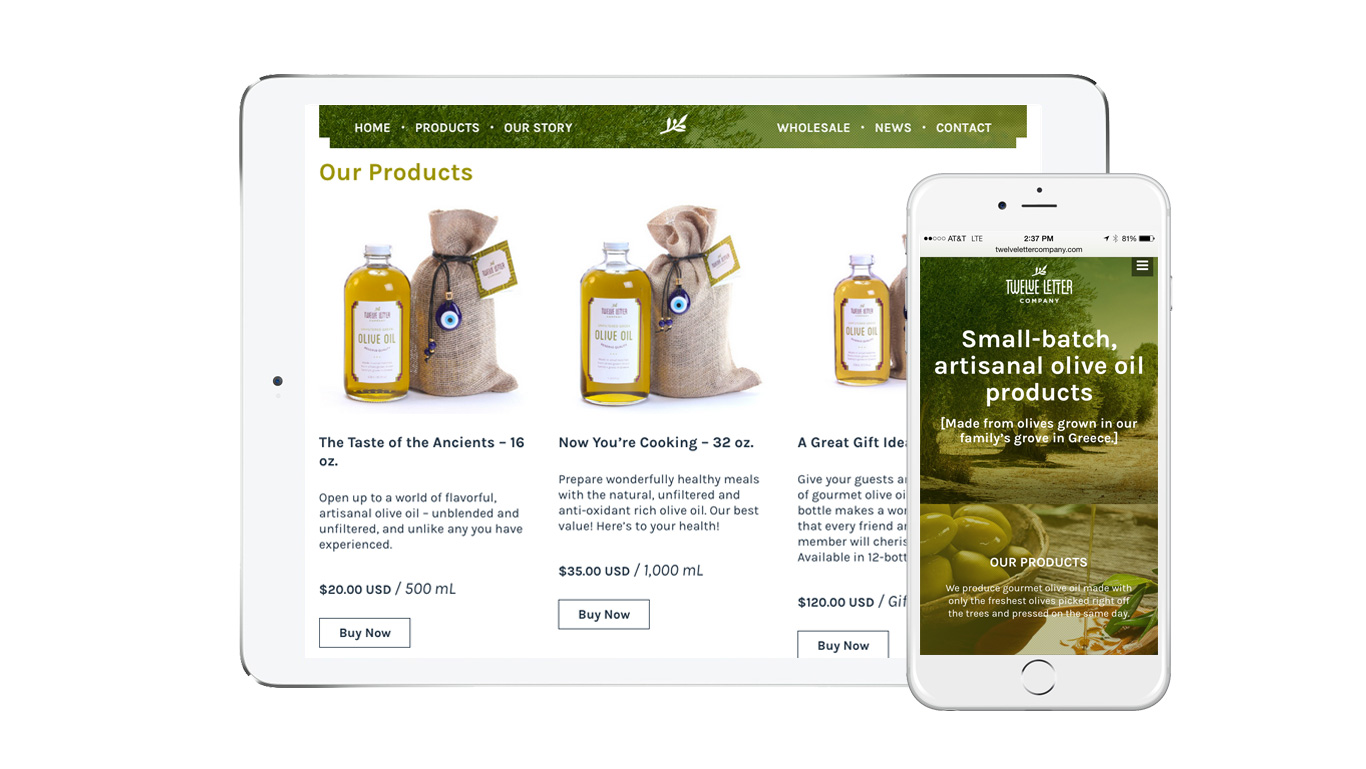 Gourmet food olive oil company ecommerce website design product page