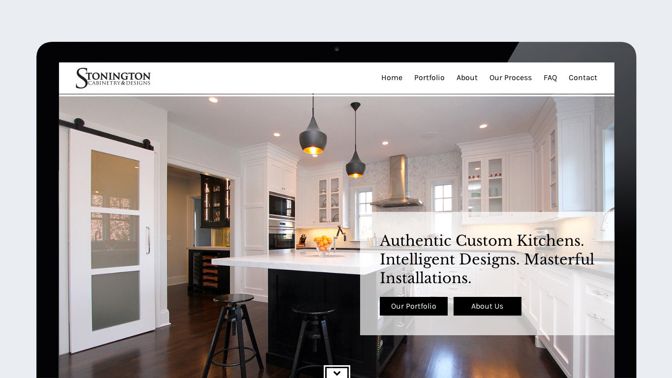 Homepage of WordPress interior design website design for Stonington Cabinetry in New Jersey.