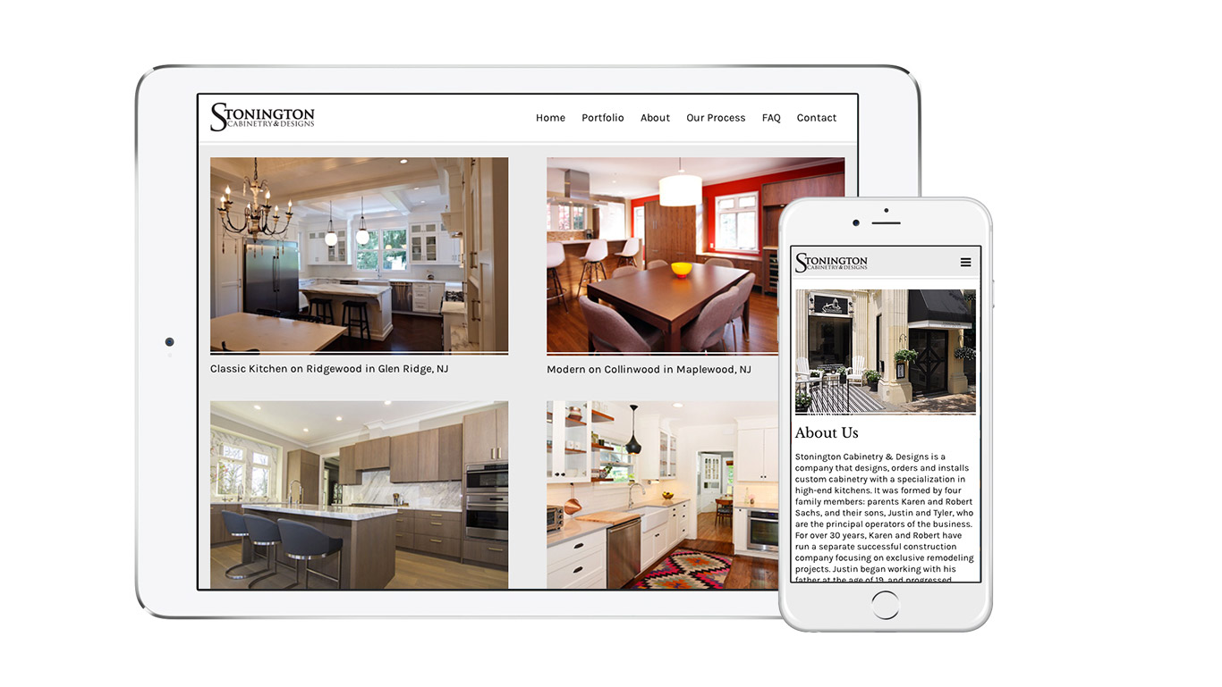 Responsive screens of WordPress interior design website design for Stonington Cabinetry in New Jersey.