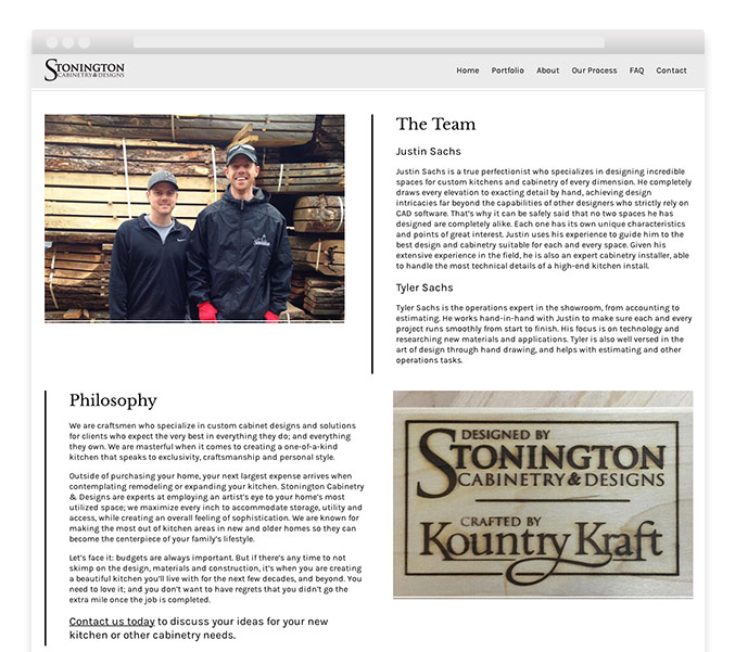 About Us webpage of WordPress interior design website design for Stonington Cabinetry in New Jersey.