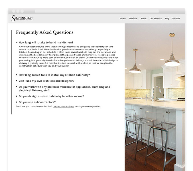 FAQ webpage of WordPress interior design website design for Stonington Cabinetry in New Jersey.