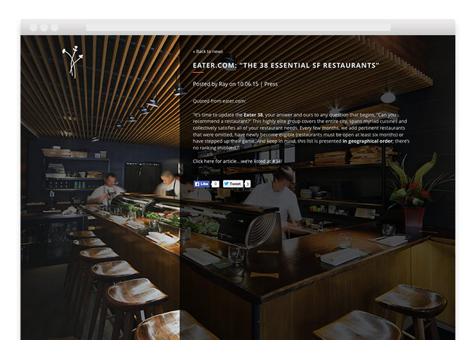 Akikos Sushi Restaurant Responsive Website Press Page Design