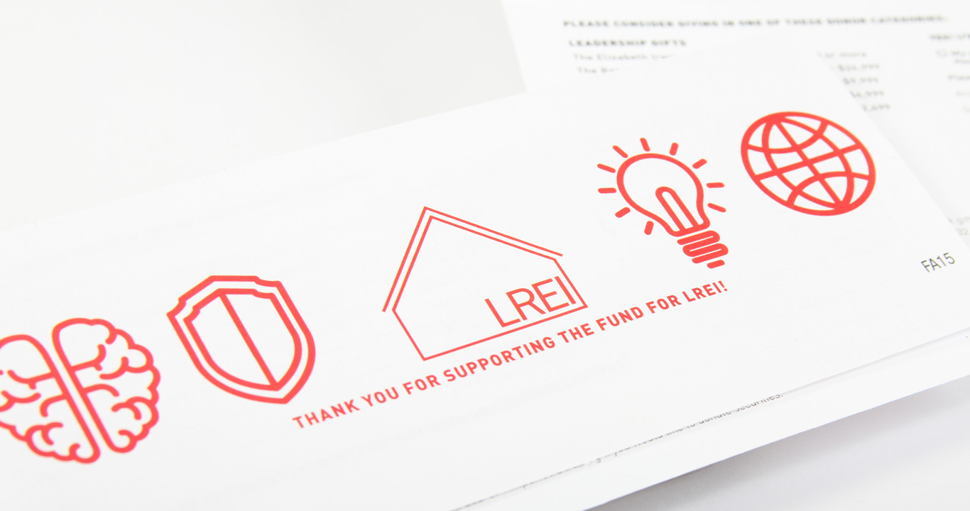 Business reply envelope design for annual fund campaign for LREI school