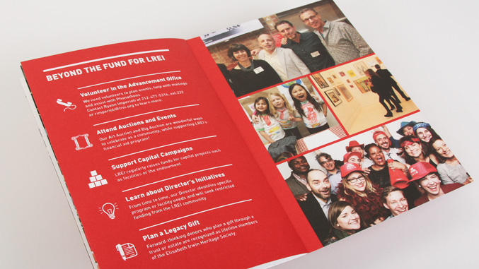 Annual fund brochure spread and graphic design for LREI school