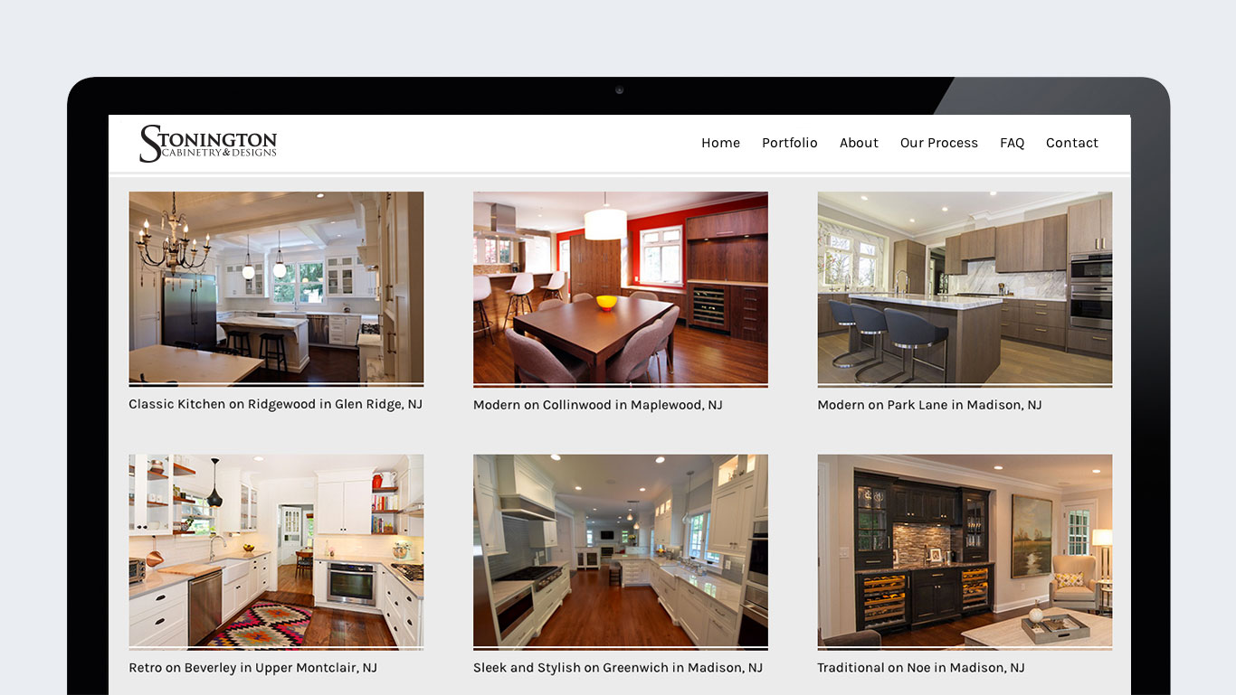 Portfolio page of WordPress interior design website design for Stonington Cabinetry in New Jersey.