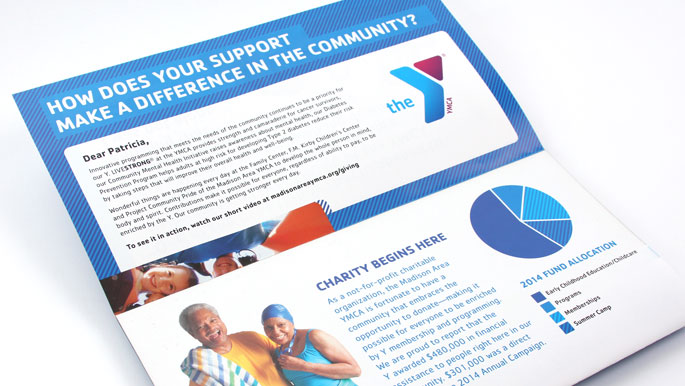 Award-winning non profit direct mail design for the Madison Area YMCA
