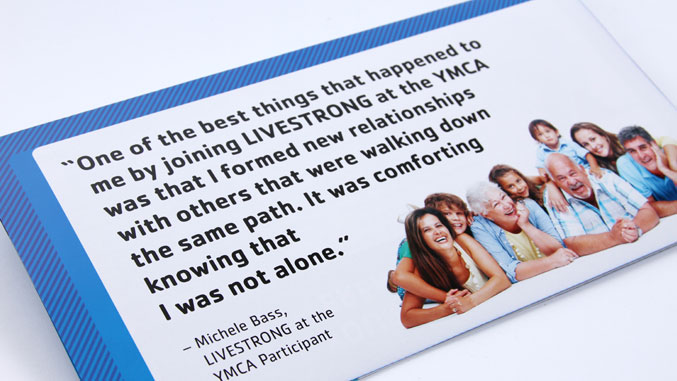 Detail of the award-winning not for profit direct mail design for the YMCA of Montclair in NJ.