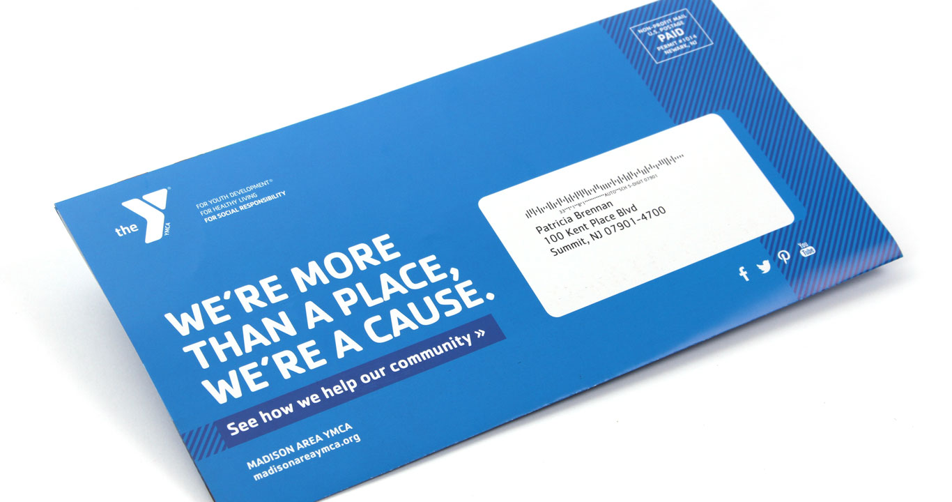 Mail panel view of the award-winning not for profit direct mail design for the YMCA of Montclair in NJ.