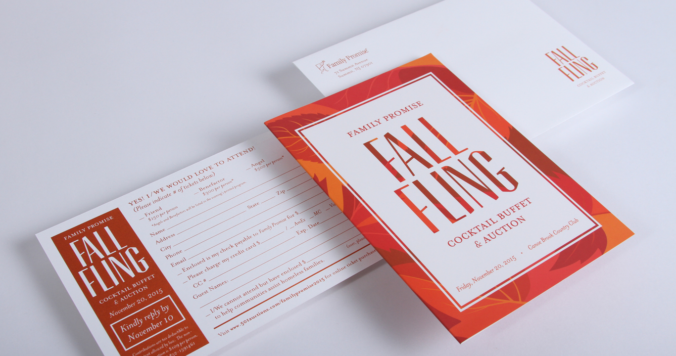 Fall themed gala invitation design including the invitation, reply card and outer envelope for a not for profit based in NJ.