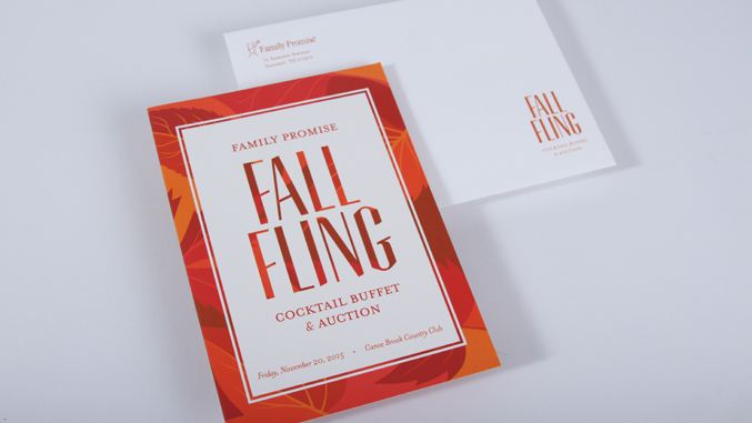 Front cover and envelope design of a fall themed gala invitation design for a not for profit based in NJ.